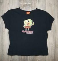 Original Black Spongebob Squarepants Glitter Shirt M 2002 Nickelodeon - $11.99