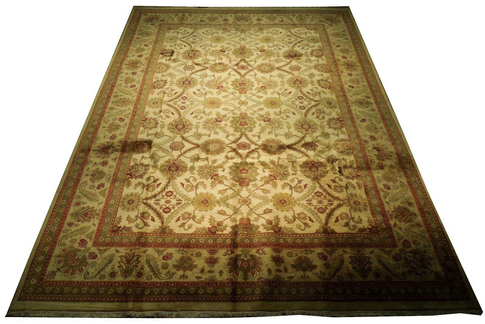 New Smooth Wool Authentic Handmade 10' x 14' Beige Jaipur Wool Rug