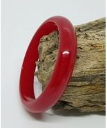 Vintage Cherry Red Bakelite Bangle Bracelet - $58.36