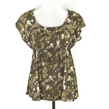 Calvin Klein Womens Shirt Size S Small Brown Sleeveless Elastic Pleated Top - $19.09