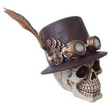 Steampunk Feathered Top Hat Skull with Steampunk Goggles Collectible Fig... - £17.57 GBP