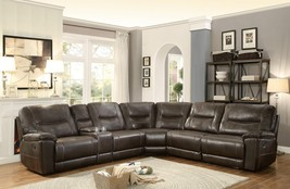 Columbus Dark Brown Leather Match Corner Reclining Sectional Sofa Set