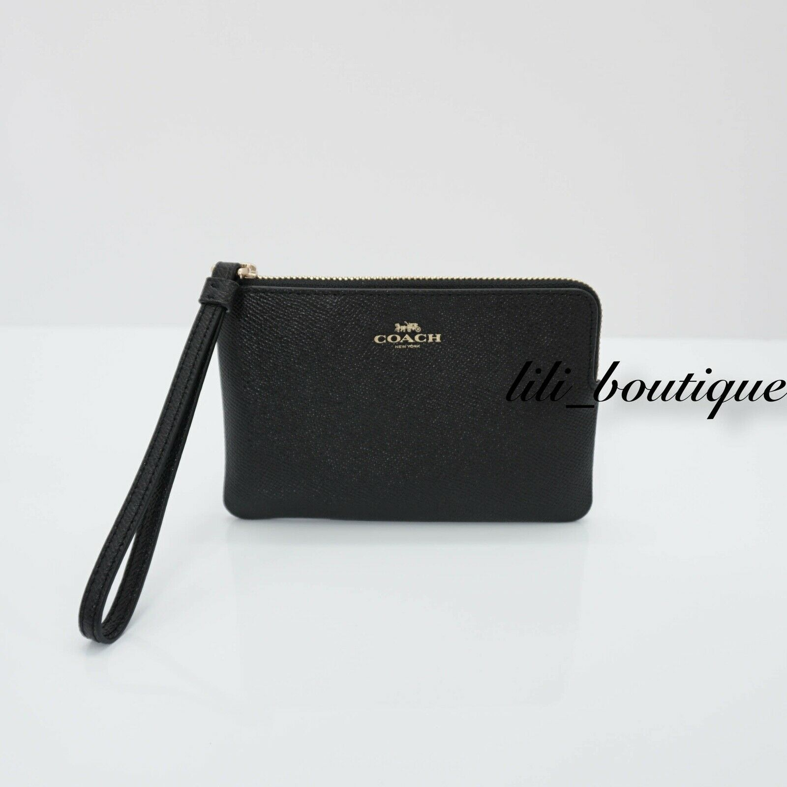 Primary image for NWT New Coach F58032 Corner Zip Wristlet Wallet Crossgrain Leather Black $78