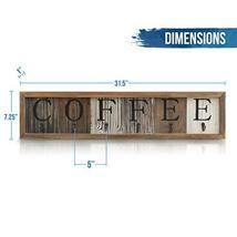 HBCY Creations Rustic Coffee Mug Rack Wall Mounted, Printed Coffee Sign - 6 Coff image 5