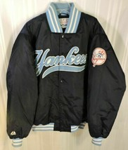 NEW YORK YANKEES Jacket COAT MEN'S XL Navy Blue MAJESTIC AUTHENTIC COLLE... - $155.80