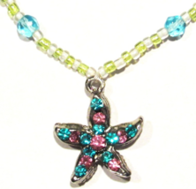 Starfish Anklet Teal Pink Crystal Charm Multicolor Bead Beaded Band Beach Ocean - $19.99