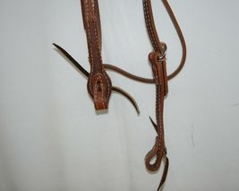 Pioneer Horse Tack 3852 Leather Headstall Reins Black Decorative Lacing image 3