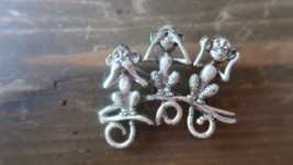 "Vintage Danecraft Hear See Speak No Evil Monkey Brooch 1.75"" - $19.79"