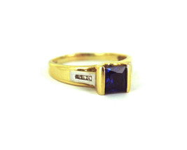 Vintage 14k Yellow Gold Princess Cut 1ct Sapphire Diamond Accent Ring Si... - $656.99