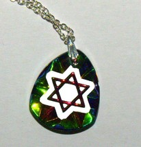 Judaica Magen David Star Crystal Pendant Multicolored Sparkle Venice Italy