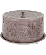 """13"""" GREY EMBOSSED  METAL CAKE STAND WITH COVERED DOME LID - $78.16"""