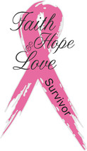 "Pink 2""x5"" Faith, Hope, & Love Survivor Breast Cancer Awareness Ribbon D... - $5.50"