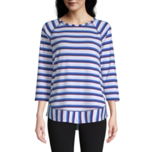 St. John's Bay Crew Neck 3/4 Sleeve T-Shirt Size L New Navy Stripe - $11.99
