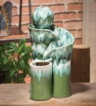 "Ceramic Green Globe Water Fountain - 9¼""W x 8""D x 16""H - $139.95"
