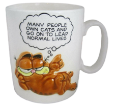 ENESCO GARFIELD Coffee Mug Cup vtg 1980s Many  People Own Cats Lead Normal Lives - $14.83