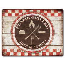 Tempered Glass Cutting Cheese Board 8x10 BACKYARD BARBEQUE Flame Grilled... - $28.36 CAD