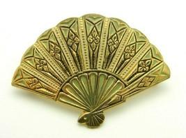 Gold Tone Damascene Hand Fan Pin Brooch Vintage - $19.80
