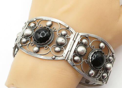 Primary image for MEXICO 925 Silver - Vintage Black Onyx Dome Swirl Twist Chain Bracelet - B6374
