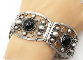MEXICO 925 Silver - Vintage Black Onyx Dome Swirl Twist Chain Bracelet -... - $145.82