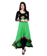 Ira Soleil kintted viscose green high low kurti with gold flower print o... - $49.99
