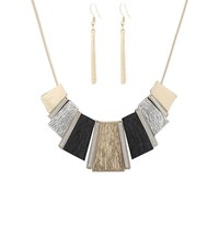 HSWE Women's Statement Hammered Bib Collar Necklace Enamel Tricolor Chun... - $12.41