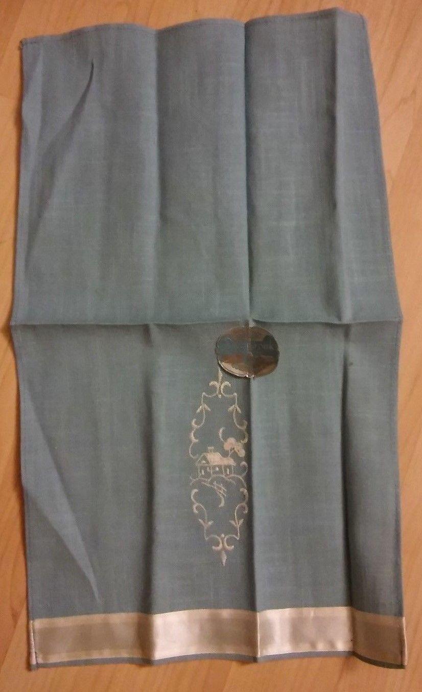 ArtMart Deeropak Linen Guest Towel - Vintage 1960's Embroidered Blue White Linen