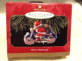NEW 1999 Hallmark Keepsake Ornament Merry Motorcycle Santa Pressed Tin Q... - $4.95