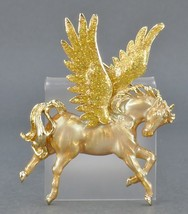"KIRKS FOLLY ""Pegasus"" Enamel Gold-tone Winged Horse BROOCH Pin - 2 3/4 i... - $75.00"