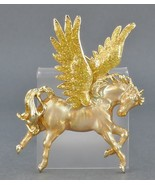 "KIRKS FOLLY ""Pegasus"" Enamel Gold-tone Winged Horse BROOCH Pin - 2 3/4 i... - £57.11 GBP"