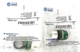 LOT OF 2 NEW ALLEN BRADLEY 800EP-PL3 GREEN OPTIC PILOT LIGHT 800EPPL3, SER. A
