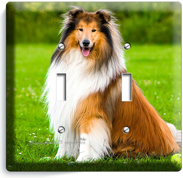 GORGEOUS ROUGH COLLIE DOG 2GANG LIGHT SWITCH WALL PLATE GROOMING PET SALON DECOR