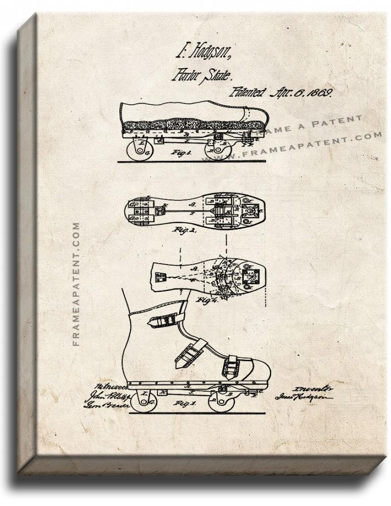 Primary image for Roller Skate Patent Print Old Look on Canvas