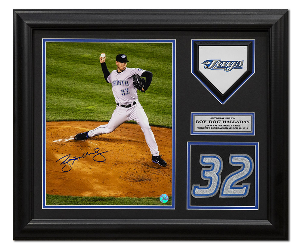 Primary image for Roy Halladay Toronto Blue Jays Autographed Retired Jersey Number 23x19 Frame