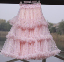 Pink Polka Dot Tulle Skirt Outfit Puffy Tiered Tulle Skirt Pink Holiday Outfit  image 3