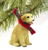 Christmas Tree Ornament - Yellow Lab (Labrador Retriever) with Scarf Ornament - $22.99