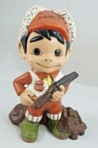 """Vintage Shotgun Hunter Boy """"Ernie"""" W/ Hound Dog Ceramic Hand-Painted '71 - $38.22"""
