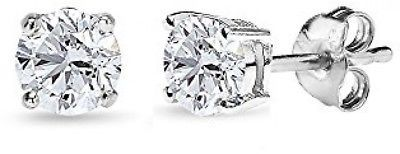 14K Gold Post And Sterling Silver Cubic Zirconia 7mm Round-Cut Solitaire Stud