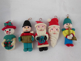 "Dough Clay Art Christmas Ornaments Santa Snowman musicians 1.75"" Small t... - $5.93"