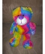 "Kellytoy Teddy Bear Rainbow Plush 15"" Stuffed Animal 2015 Ages 3+ Made I... - $17.82"