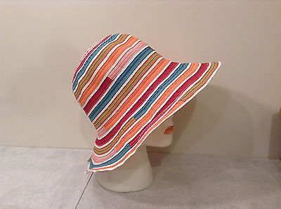 """Woman Summer Hat """"Sinead"""" Striped Multicolor Light Weight Colorful"""