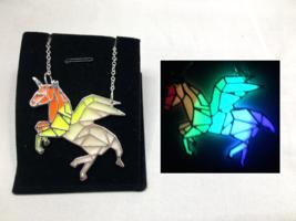 Origami PEGASUS Rainbow GLOW in the DARK Silver Pendant Charm Necklace U... - $15.15