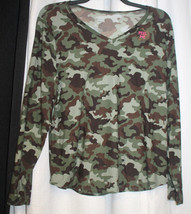 New Womens Junior Plus Size 3X 23/25 Camouflage Camo V Neck Long Sleeve Top - $16.44