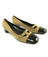 Salvatore Ferragamo Boutique Womens Tan Suede Brown Patent Cap Toe Size ... - $77.42