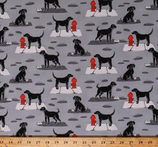 Dogs Animals Fire Hydrants City Gray Ike Gray Cotton Fabric Print BTY D3... - $11.95