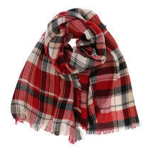 7 Seas Republic Women's Fringed Red Plaid Oblong Scarf - €12,41 EUR
