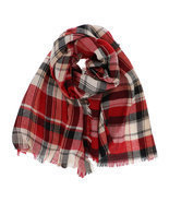 7 Seas Republic Women's Fringed Red Plaid Oblong Scarf - €11,36 EUR