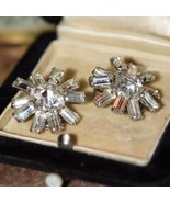 ROUND  Vintage Weiss Rhinestone Earrings CLIP ON PRONG SET MID CENTURY  - $29.99