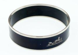 Hermès Esmalte Negro Caleche Brazalete 19mm Ancho Gorgeous! image 3