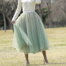 Sage Green Puffy Tulle Skirt Outfit High Waisted Midi Tulle Skirt Holiday Outfit image 3
