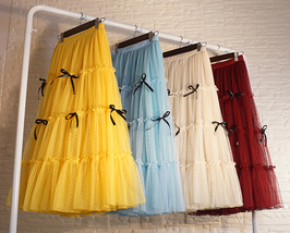 Layered Tulle Skirt Outfit w. Bow Festival Long Tulle Skirt Yellow Blue Wine-red image 2